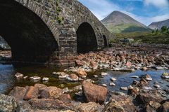 Die Cuillin-Berge, Insel von Skye, inneres Hebrides, Schottland, U lizenzfreies stockfoto
