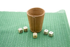 Die cup. Dice cup of leather with die Stock Photos