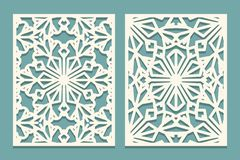 Die cut cards. Laser cut ornamental panel with snowflakes pattern. Cutout silhouette with winter ornament Suitable for printing, e. Ngraving, cutting paper stock illustration