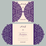Die cut wedding invitation card template. Paper cut out card with lace. Beautiful laser cut invitation card for wedding Royalty Free Stock Photos