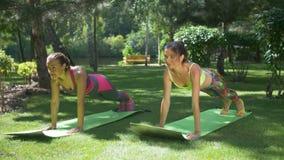 Die dünnen Eignungsfrauen, die Planke tun, trainieren im Park stock footage