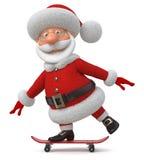 Die 3D Illustration Santa Claus geht auf ein Skateboard Stockfotografie