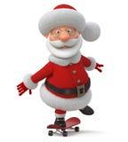Die 3D Illustration Santa Claus geht auf ein Skateboard Lizenzfreies Stockbild