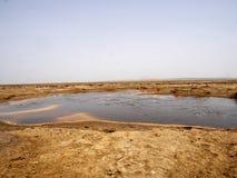 Die Danakilian-Krise von verschiedenen Fumarolen, Dampf taucht und Wasserströme heraus auf ?thiopien lizenzfreies stockfoto