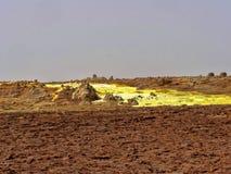die Danakilian-Krise von verschiedenen Fumarolen, Dampf taucht und Wasserströme heraus auf ?thiopien stockbild