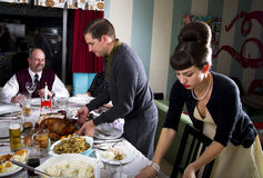 Die Danksagungs-Abendessen-Türkei-Schnitzen stockfotografie