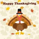Die Danksagungs-Türkei-Vogel, der einen Pilger-Hut unter glücklichem Danksagungs-Text trägt Stockbild