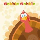 Die Danksagungs-Türkei-Vogel-Karikatur-Maskottchen-Charakter, der von einer Ecke späht Lizenzfreies Stockbild