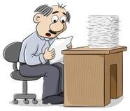 Die de beambte leest een brief bij het nieuws met wanhoop wordt vervuld royalty-vrije illustratie