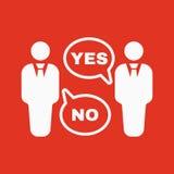 Die Debattenikone Dialog und Verhandlung, Diskussionssymbol flach Stockbild