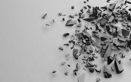 Die defekten Stücke des Gegenstandes, schwarzes Weiß, Illustration 3d auf einem festen sandigen Hintergrund Stockbilder
