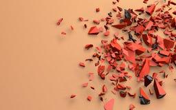 Die defekten Stücke des roten Gegenstandes im Schwarzen, Illustration 3d, auf einem ununterbrochenen sandigen Hintergrund Stockfotografie