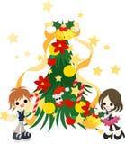 Die Dekoration des grünen Weihnachtsbaums Lizenzfreie Stockfotos