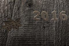 Die Dekoration des neuen Jahres mit Untertitel 2016 stockfoto