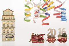 Die Dekoration des neuen Jahres mit Untertitel 2016 lizenzfreies stockfoto