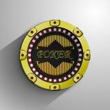 Die dekorative goldene Münze des Kasinos Stockfotos