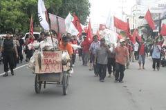 Die Demonstration traditionellen Markt-Händler Soekarno Sukoharjo Lizenzfreie Stockfotografie