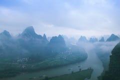 Die der Li-Fluss Landschaft des Frühlinges Stockbilder