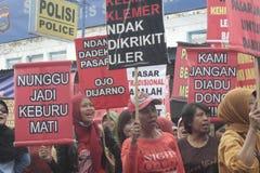 Die Der Markt-Verkäufer-Führungs-Demonstration Soekarno Sukoharjo der Frauen traditionelle Stockfoto