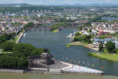 Die deutsche Ecke in Koblenz, Deutschland Lizenzfreie Stockfotos