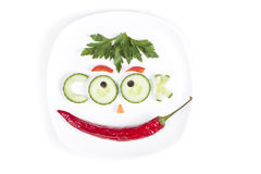 Die Diät gemacht in der Form von Buchstaben auf einer Platte Lizenzfreie Stockfotografie