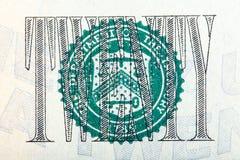 Die Dichtung auf dem U S 20 Dollarschein auf Makro Lizenzfreies Stockbild