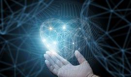 Die Doktor ` s Hand zeigt abstraktes Herz Lizenzfreies Stockfoto