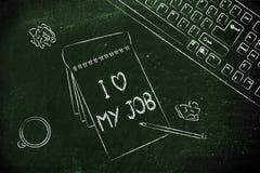 Die Dokumente, die I sagen, lieben meinen Job unter anderen Gegenständen auf dem Schreibtisch Stockfotos