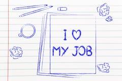 Die Dokumente, die I sagen, lieben meinen Job unter anderen Gegenständen auf dem Schreibtisch Lizenzfreies Stockbild