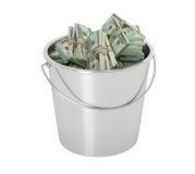 20 die Dollarsrekeningen in een emmer - op wit wordt geïsoleerd royalty-vrije illustratie