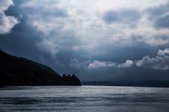 Die Donau und das Schloss golubac Serbien Stockfotografie