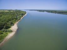 Die Donau von oben Lizenzfreies Stockfoto