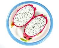 Die Drachefrucht auf weißem Hintergrund für feinschmeckerisches Nachtischbild Stockfoto