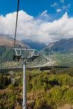 Die Drahtseilbahn zum Berg Stockfoto