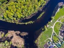 Die Draufsicht über Flut des Flusses, aerophoto Lizenzfreie Stockfotos