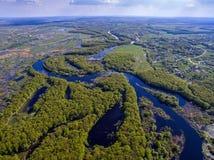 Die Draufsicht über Flut des Flusses, aerophoto Lizenzfreies Stockbild