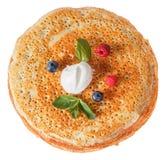 Die Draufsicht über Pfannkuchen mit Löchern Lizenzfreies Stockbild