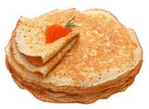 Die Draufsicht über Pfannkuchen mit Löchern Stockfotografie