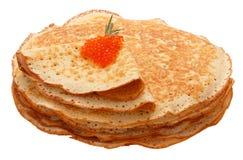 Die Draufsicht über Pfannkuchen mit Löchern Lizenzfreie Stockbilder