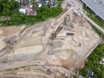 Die Draufsicht der Baustelle in dem Anfangsstadium stockfoto