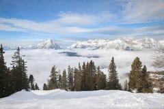 Die Draufsicht der Seefeld-Olympia-Skiregion Lizenzfreie Stockbilder