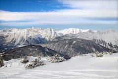 Die Draufsicht der Seefeld-Skiregion Lizenzfreies Stockfoto