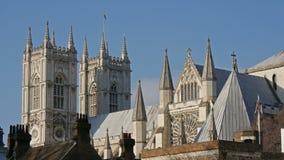 Die Draufsicht der Westminster- Abbeykirche in London stock footage