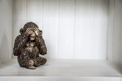 Die drei Affe-Skulptur hören, dass zu sprechen 3 sehen Sie Lizenzfreies Stockbild