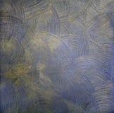 Die dunkle Farbenbeschaffenheit mit runden Scheidungen ist mit Gold blau Dekorative Beschichtung für Wände Stockfotos