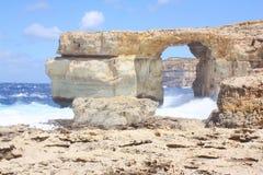 Die Dwejra-Bucht Gozo Malta Fenster des natürlichen Bogens azurblaue Stockbild