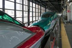 Die /E6 (rote) Kombination der Hochgeschwindigkeitszüge E5 (grünes) Lizenzfreie Stockfotografie