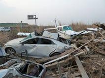 Die Effekte des Tsunamis in Japan Unfall trat in Japan im Jahre 2011 auf Stockfotografie