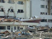 Die Effekte des Tsunamis in Japan Unfall trat in Japan im Jahre 2011 auf Stockbild