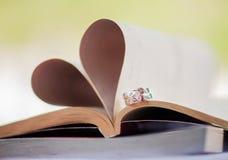 Die Eheringe von Ihnen und von mir, der Zeuge der Liebe Lizenzfreies Stockfoto